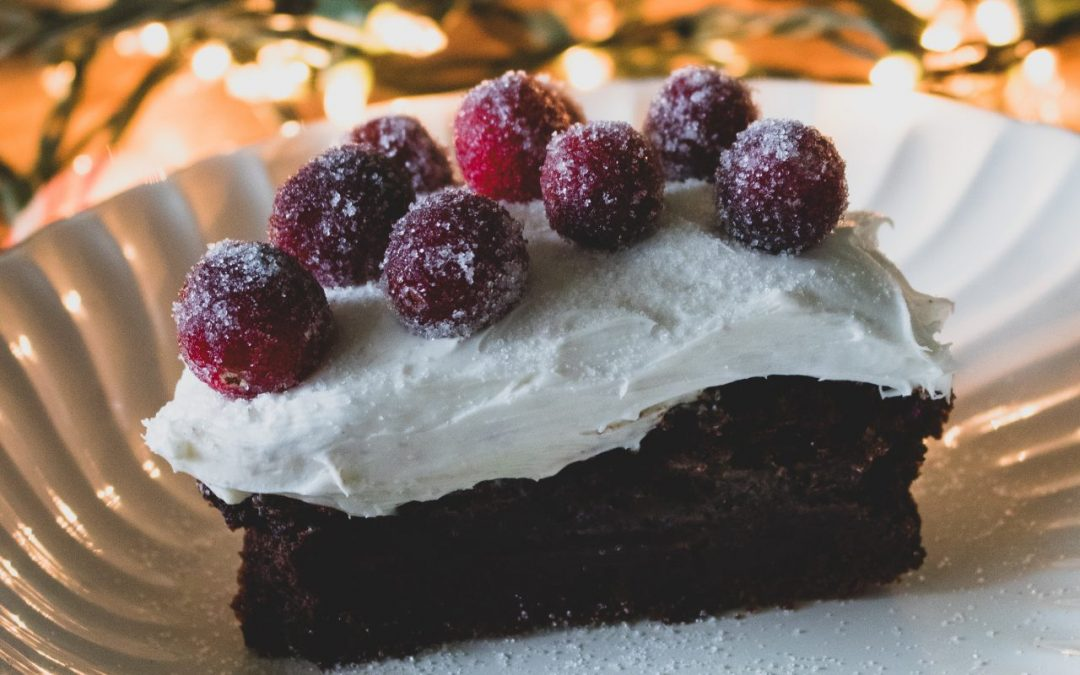 Festive Pumpkin Chocolate Cake with Sparkling Cranberries